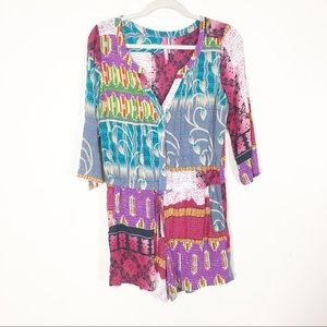 Plenty by Tracy Reese Colorful Patchwork Romper